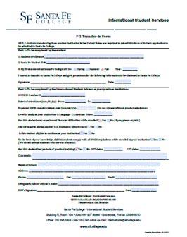 Santa Fe College - Transfer-In Form